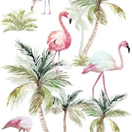 Esta Jungle Fever wallpaper XXL 158844 flamingo's roze
