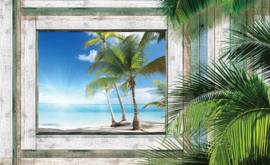Fotobehang Uitzicht op Zon, Zee en Palmstrand