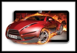 Fotobehang Red Car in Flames