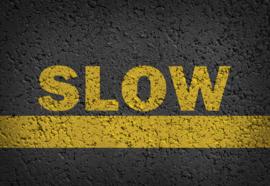 Fotobehang Road Markings Grunge Slow
