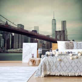 Fotobehang Sepia New York Skyline Brooklyn Bridge