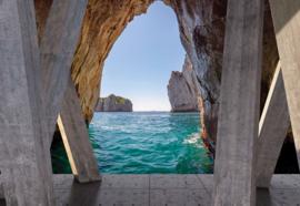 Fotobehang Oceaan uitzicht uit grot met moderne kunst