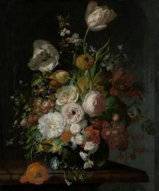Fotobehang Stilleven met bloemen in een glazen vaas - Rachel Ruysch