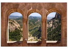 Fotobehang Boogvenster en landschap