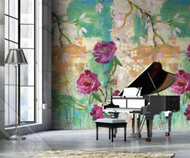 Colorful Florals&Retro fotobehang designed by INGK7316