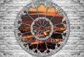 Fotobehang Uitzicht op de stad bij zonsondergang