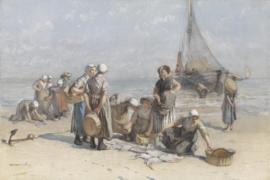 Fotobehang Vissersvrouwen op het Scheveningse strand - Bernardus Johannes Blommers