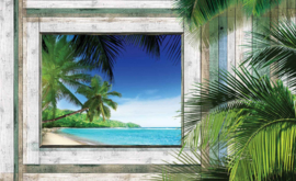 Fotobehang Uitzicht op Palmstrand