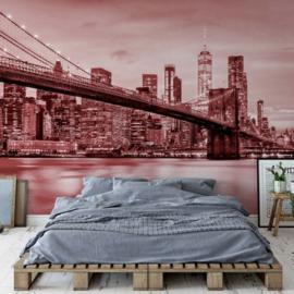 Fotobehang Brooklyn Bridge NYC Rood