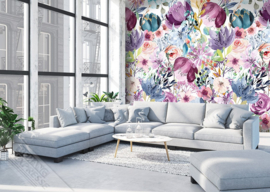 Colorful Florals&Retro fotobehang designed by INGK7296