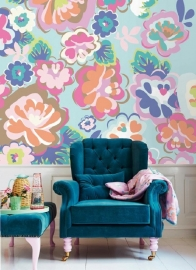 Posterbehang Eijffinger Rice 359160 English Country floral dream Aqua
