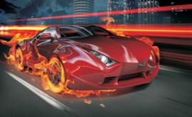 Fotobehang  Sportauto in vlammen 132-P8