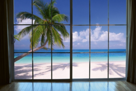 Fotobehang Venster uitzicht over strand