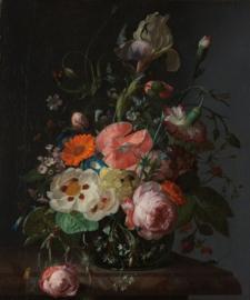 Fotobehang Stilleven met bloemen op een marmeren tafelblad - Rachel Ruysch