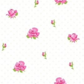 Esta Home Belle Rose Red & Green 115728 roosjes behang