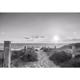Fotobehang Zonsondergang bij het Strand Zwart Wit