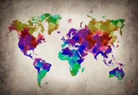 Fotobehang Watercolour World Map Atlas