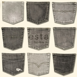 Behang Esta Denim & Co 137740 Jeans pocket grey