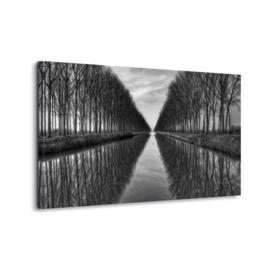 Canvasdoek Bomenrij langs het kanaal