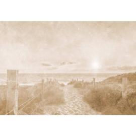 Fotobehang Zonsondergang bij het Strand Vintage Sepia