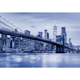 Fotobehang Brooklyn Bridge NYC Blauw