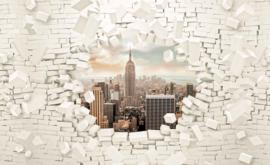 Fotobehang Doorkijk New York  Skyline Bakstenen