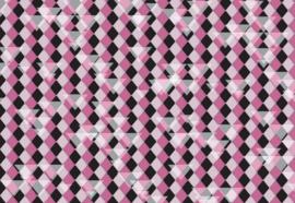 Fotobehang Roze-zwart ruit patroon