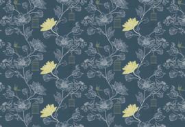 Fotobehang Blauw bloemen patroon