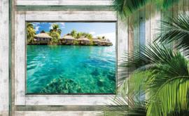 Fotobehang Uitzicht op Tropische Vakantiehuizen