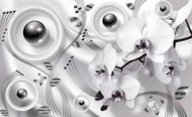 Fotobehang Abstract grijze Bloemen