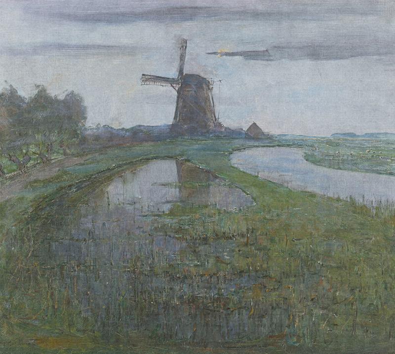 Dutch Painted Memories 8033 Mill in the moonlight Piet Mondriaan