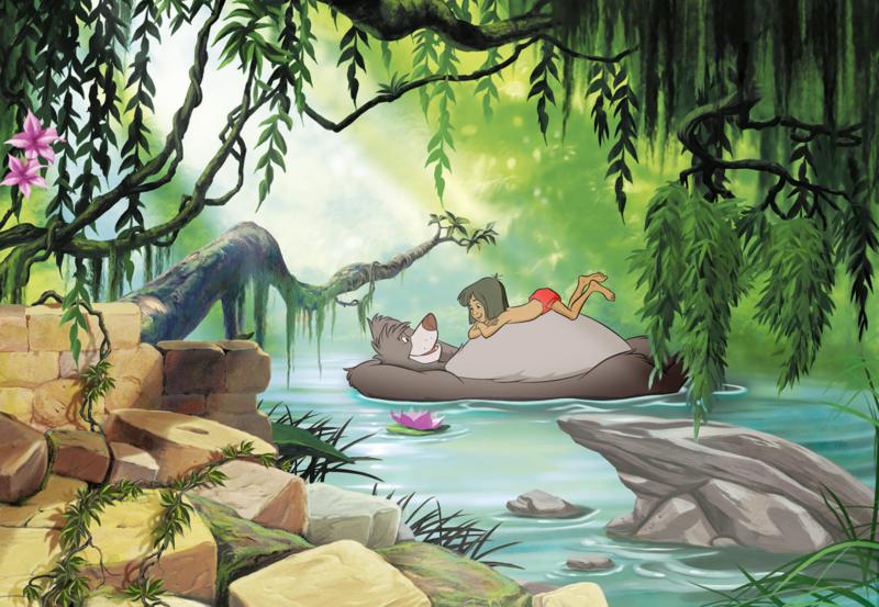 Komar fotobehang 8-4106 Junglebook Swimming With Baloo