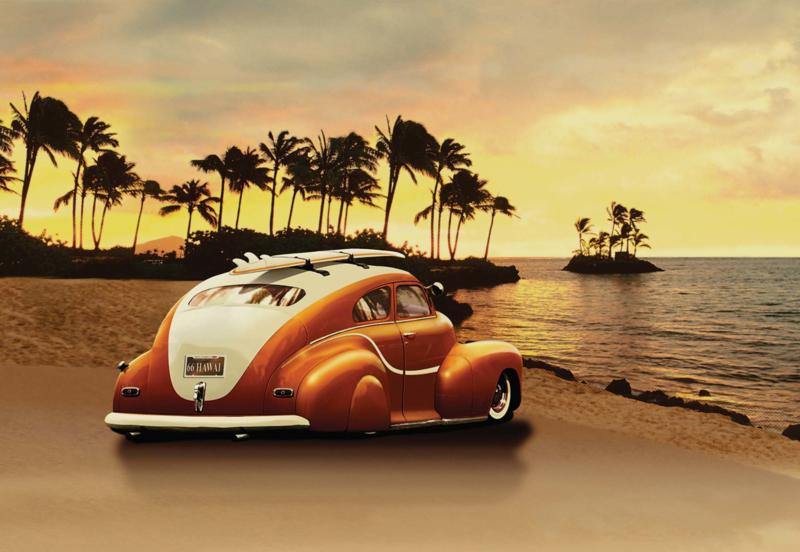 Fotobehang Sunset Beach by Car