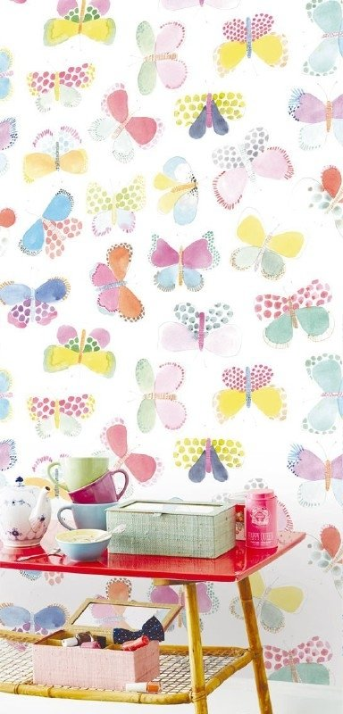 Posterbehang Eijffinger Rice 359150 Butterflies in my stomach  - white