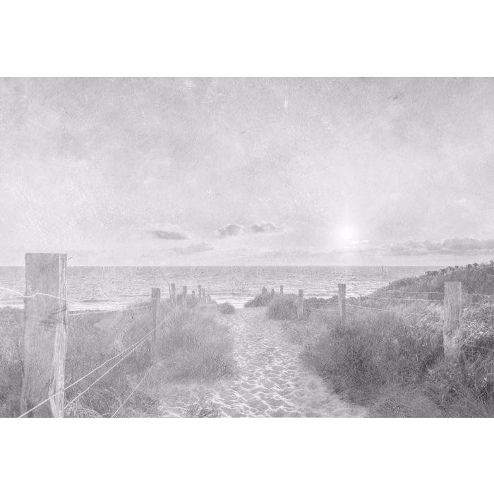 Fotobehang Zonsondergang bij het Strand Vintage Zwart Wit