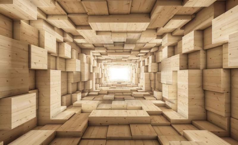 Fotobehang 3D Abstract Hout