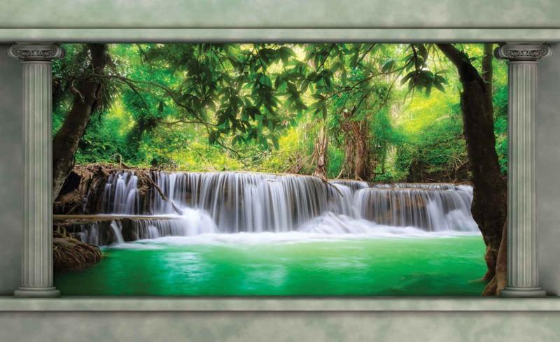Fotobehang Doorkijk op Waterval