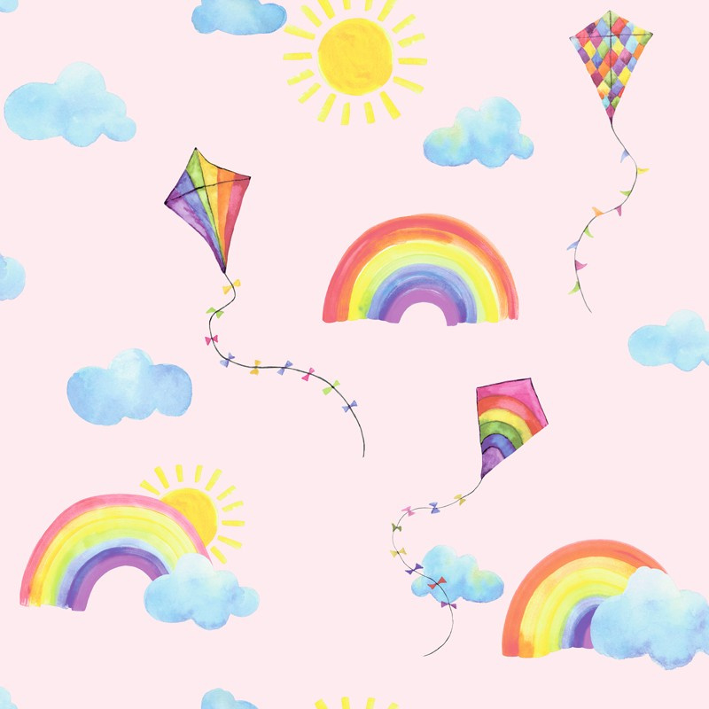 Over the Rainbow 91021 Rainbows and Flying Kites Pink