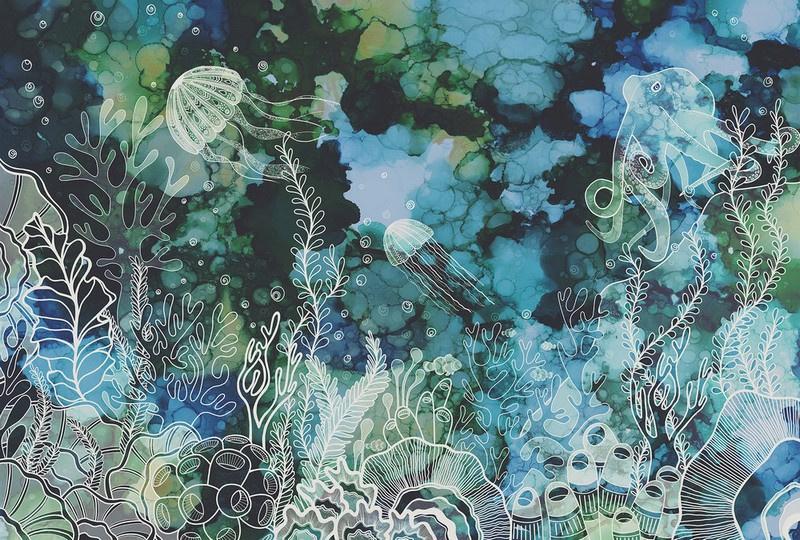 Fotowand Underwater colour by Sabrina Ziegenhorn afm. 400cm x 270cm hoog