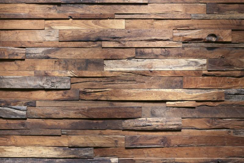 Fotobehang Planken wand horizontaal