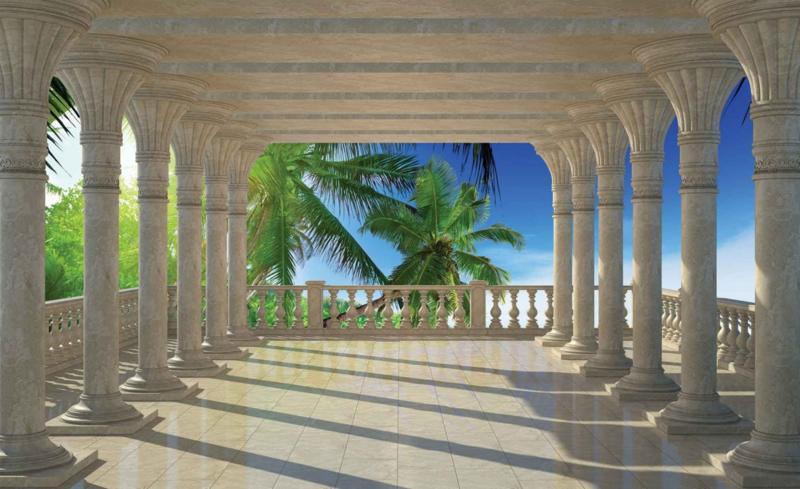 Fotobehang Uitzicht op Palmbomen