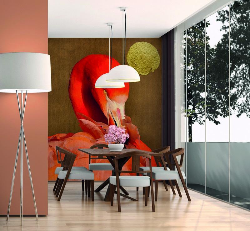 Fotowand Flamingo in sun by Kubistika afm. 200cm x 280cm hoog