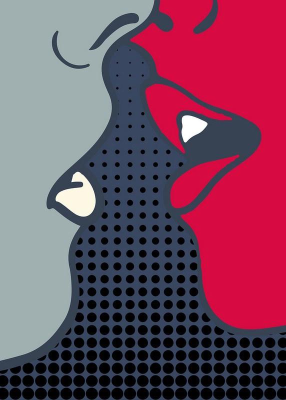 Fotowand The kiss by Kubistika afm. 200cm x 280cm hoog