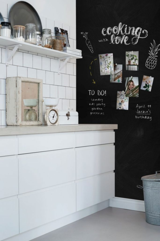 Behang Esta home - Scandi Cool 155001 Magnetic Chalkboard Zwart