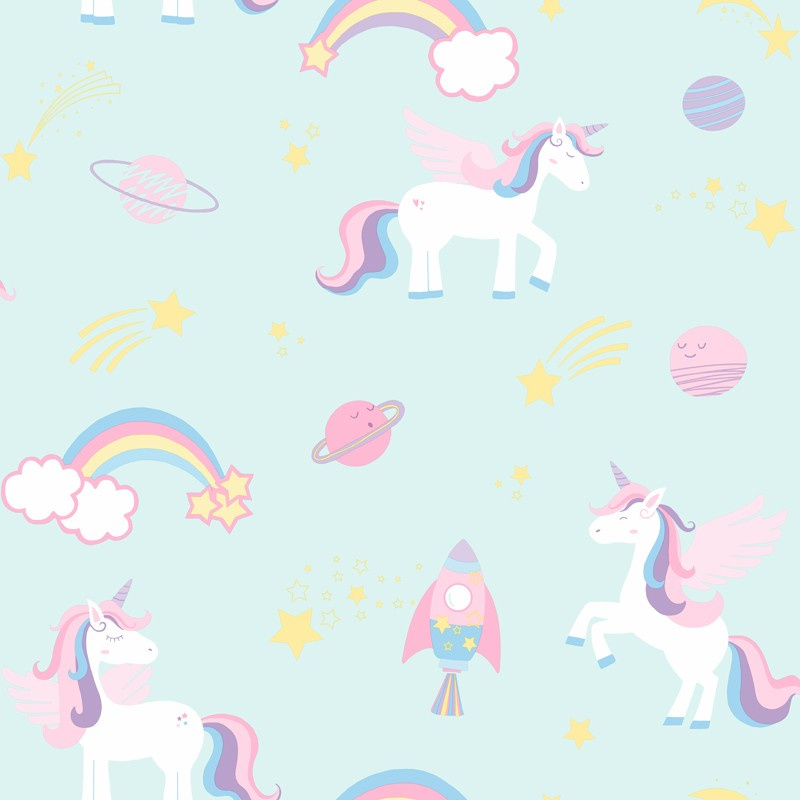 Over the Rainbow 90962 Unicorns Rockets and Rainbows Teal