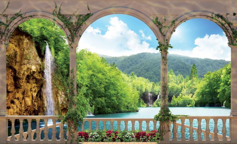 Fotobehang Uitzicht op de Waterval