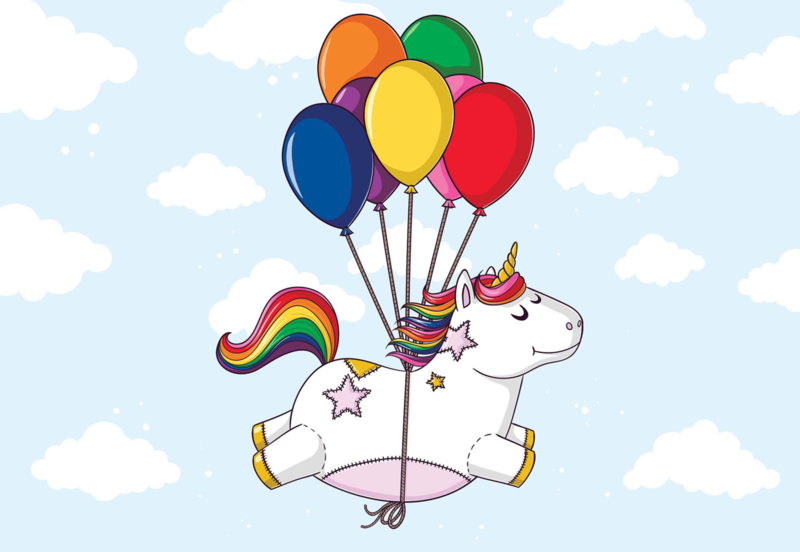 Fotobehang Flying Unicorn