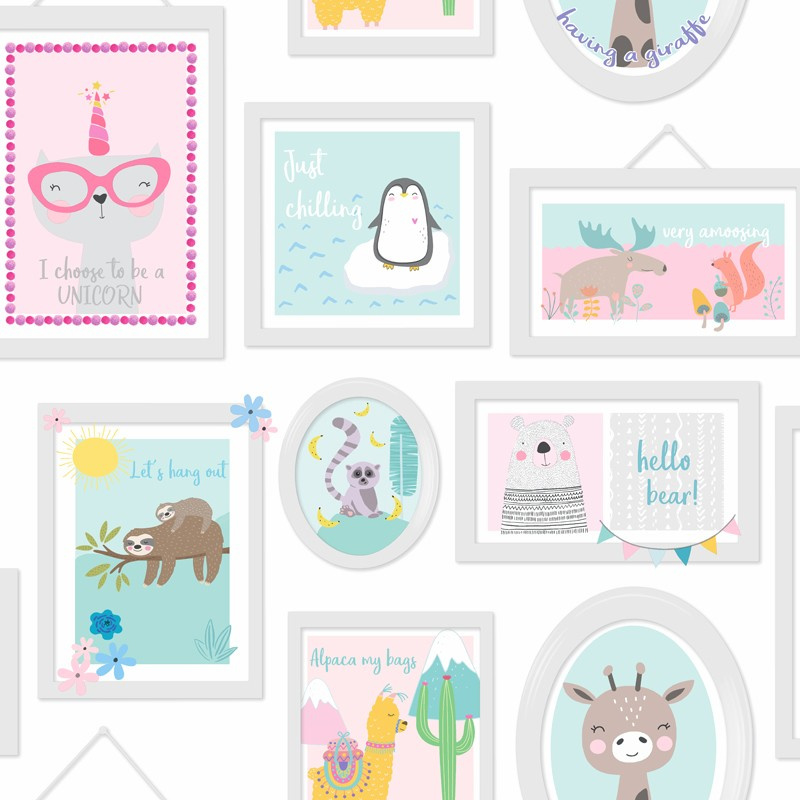 Over the Rainbow 90971 Animal Frames Teal Pink