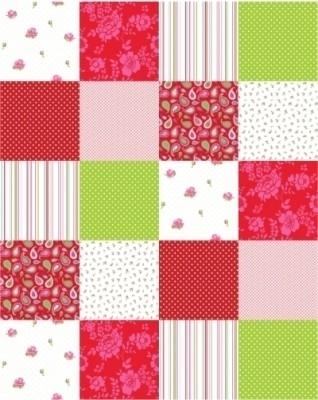 Esta Home Belle Rose Red & Green 155702 Patchwork