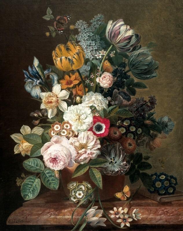 Kek Wonderwalls Golden Age Flowers PA-036 by Eelke Jelles Eelkema (1788-1839) 142.5cm x 180cm